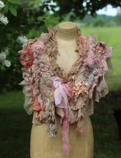 Baroque shrug- sassy boa, shrug, artful ornate bohemian cape ,nuno felted, with appliques, hand beading, embroidery