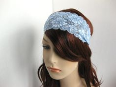 Winter Ice Stretch Lace Headband Blue Flowers by FlowerCityThreads
