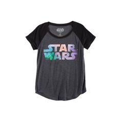 Hybrid Juniors Star Wars Galaxy Logo Tee ($18) ❤ liked on Polyvore featuring tops, t-shirts, shirts, star wars, v neck shirt, long shirts, long tee, logo t shirts and t shirt