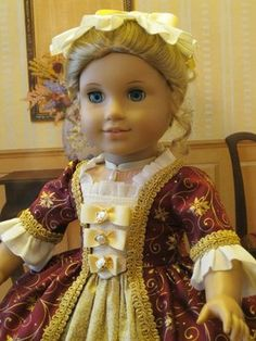 """Ball Gown for Elizabeth or Her Friend Felicty American Girl Doll 18in"""" 