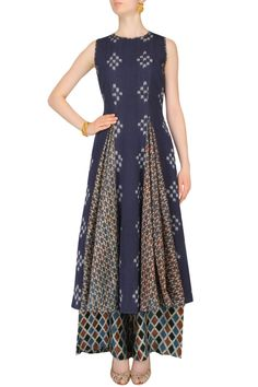 ANUSHREE Indigo Printed Tunic And Chanderi Palazzo Pants Set