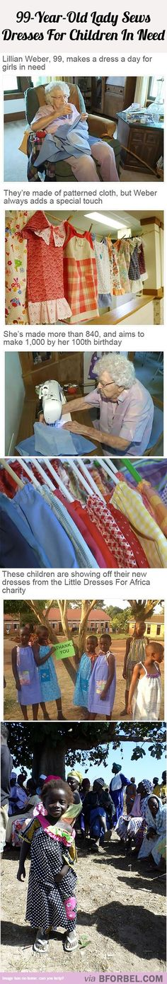 A 99-Year-Old Lady Sews Pretty Dresses For Children In Need…