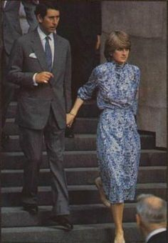 July 27, 1981:  Prince Charles & his fiance, Lady Diana Spencer leaving their wedding rehearsal at St. Paul's Cathedral.