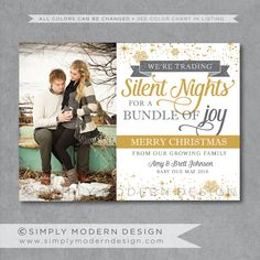 holiday card, christmas card, pregnancy announcement, new baby, PRINTABLE by SimplyModernDesignx on Etsy