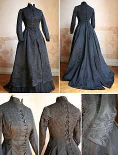 1877 Mourning dress Mourning Dress, Classic Dresses, Victorian Gothic, Victorian Fashion, Julius Caesar, Beautiful Clothes, Beautiful Outfits, Historical Costume, Steam Punk