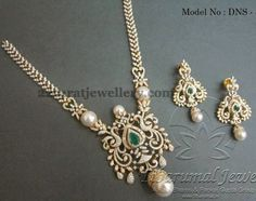 Simple rose cut diamonds opulent diamond long chain with magnificent peacock designer broad pendant, embellished with emeralds, round dia. Diamond Necklace Set, Diamond Pendant, Pearl Necklace, Gold Jewellery Design, Gold Jewelry, Latest Jewellery, Schmuck Design, Indian Jewelry, Bridal Jewelry