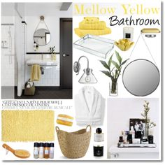 """""""Mellow Yellow Bathroom"""" by kimberley-wright on Polyvore"""