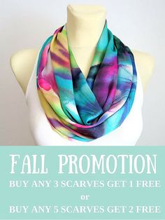 Rainbow Floral Infinity Scarf - Boho Gift Idea for Her - Satin Silk Loop Scarf - Circle Fabric Scarf - Women Fashion Accessories - pinned by pin4etsy.com