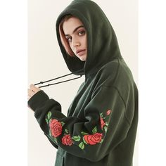 Roses Hoodie Sweatshirt ($59) ❤ liked on Polyvore featuring tops, hoodies, graphic hoodie, long sleeve hooded sweatshirt, urban outfitters tops, graphic print top and urban outfitters