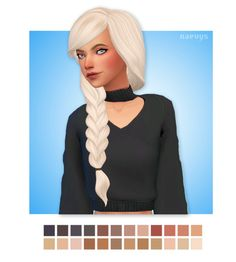 "naevys-sims: "" ""Sun Hair by Leosims recolored in @citrontart​ Patisserie palette and Saccharine palette "" • 24 swatches • Custom thumbnail • Mesh needed -> here DOWNLOAD """