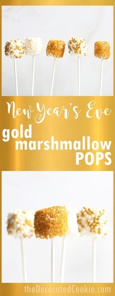 year's eve marshmallows-- Sparkly gold marshmallow pops New Year's Eve party fun food ideas: New Year's Eve gold marshmallow pops with video how-tos.New Year's Eve party fun food ideas: New Year's Eve gold marshmallow pops with video how-tos. New Years Eve Snacks, New Years Eve Menu, New Year's Snacks, New Years Eve Drinks, New Years Eve Dessert, New Years Eve Party Ideas Food, Kids New Years Eve, New Year's Eve Appetizers, New Year's Eve Cocktails