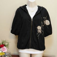 Lucky Brand zip-up hoodie This hoodie has short sleeves, with a batwing look.  100% cotton. Very pretty flower embroidery. Lucky Brand Tops Sweatshirts & Hoodies