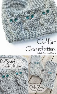 Owl Crochet Free Patterns including a scarf, gloves and hat. Homesteading Frugal… Owl Crochet Free Patterns including a scarf, gloves and hat. Homesteading Frugal Clothing Art Form – The Homestead Survival. Bonnet Crochet, Crochet Diy, Crochet Gifts, Crochet Owls, Tutorial Crochet, Knitted Owl, Crochet Hearts, Crochet Food, Bead Crochet