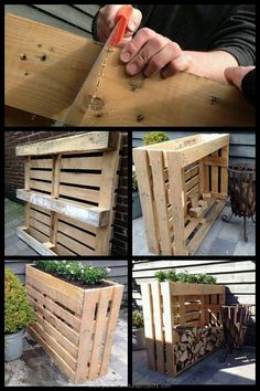 Shed DIY - My Shed Plans - Plantenbak/haardhout kast gemaakt van pallets - Now You Can Build ANY Shed In A Weekend Even If Youve Zero Woodworking Experience! Now You Can Build ANY Shed In A Weekend Even If You've Zero Woodworking Experience! Woodworking Projects Diy, Diy Pallet Projects, Woodworking Plans, Wood For Furniture, Outdoor Furniture Pallets, Palet Garden Furniture, Recycled Wood Furniture, Outdoor Pallet Projects, Pallet Furniture Designs