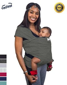a5197f10511 Slate Grey Baby Sling Carrier Wrap by Cozitot
