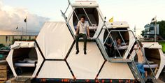 It's Official: This Honeycomb Tent Is The Future Of Festival Camping 4 Festival Camping, Camping Pod, Tent Camping, Glamping, Camping Ideas, Campsite, Group Camping, Diy Camping, Camping Hacks