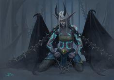 World of warcraft (WoW) demon hunter in The Maw (Shadowlands) Fantasy Demon, Dark Fantasy, Fantasy Art, World Of Wacraft, Draenei Female, Warcraft Characters, The Dark One, Demon Hunter, The Darkest