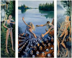 Sirpa Alalääkkölä: Aino-triptyykki, 1988 Klimt Art, Old Paintings, Archipelago, Helsinki, Figure Painting, Vintage Postcards, Food Pictures, Art History, Mythology