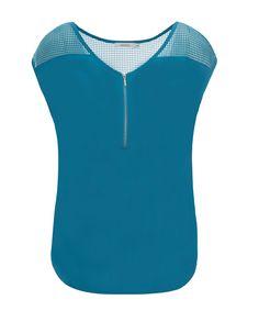 Perforated Yoke Zip Top, Turquoise