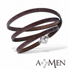AMEN Brown Bracelet - Our Father in Latin - Size L - Brown