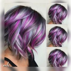 50 Best Short Hairstyle Ideas Frisuren, Short Haircuts For Women. Hair Color Purple, Cool Hair Color, Short Purple Hair, Purple Hair Highlights, Hot Hair Colors, Lilac Hair, Funky Hairstyles, Female Hairstyles, Hairstyles 2016