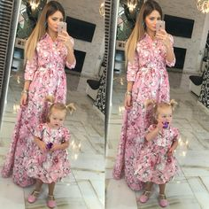 Sakura pink - matching floral mother and me dresses, family outfits, mother and daughter dresses, child dress, girl dress, family look