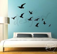 Removable Vinyl wall sticker decal Art - Flock of Flying Birds - dd1011