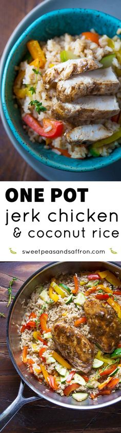 An easy, healthy weeknight dinner recipe.  Jamaican jerk chicken is cooked in the same pan as coconut rice and vegetables.  Ready in 45 minutes!