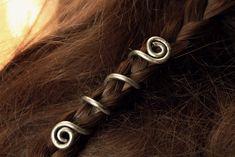 2 Custom Viking hair beads • Spiral hair coils • Beard jewelry • Dwarven beard coils • Bead hair accessory • Dreadlock hair accessories by LoitsuCrafts on Etsy