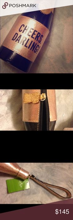 """Kate Spade Champagne Bottle Wristlet NWT Kate Spade """"Chestnut Street"""" champagne Wristlet. Colors are black/rose gold. Brand new with tags. Perfect for the holidays and New Years Eve! Reasonable offers welcomed. Bundle and Save! kate spade Bags Clutches & Wristlets"""