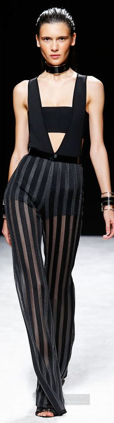 Balmain Black Jumpsuit with black stripes / Spring 2015., black jewelry, black heels, black fashion