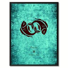 Pisces Horoscope Astrology Aqua Canvas Print, Black Custom Frame
