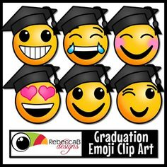 This set of Graduation Emoji Clip Art contains 20 images.  10 colored and 10 black and white.  Each image is approximately 4x4 inches in size and can be resized up or down.  Each Emoji is wearing a mortarboard or square academic cap, to give this set a Graduation theme.Import these clip art images into your editing program, such as PowerPoint, to create back to school posters, classroom banners/decor, posters, fun activities, worksheets, lesson plans and other teaching resources.