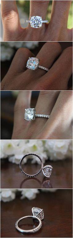 GIA 5 Carat Cushion Diamond & Hidden Halo Engagement Ring Platinum Anniversary Rings for Women 5ct Luxury Rings Raven Fine Jewelers #PlatinumWeddingRingsforWomen