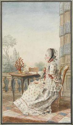 Mme d'Azincourt, femme de l'intendant des menus, Louis Carrogis Carmontelle, 1760