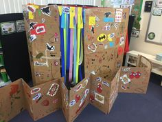 Superheroes deconstruction role play Superhero Classroom, Classroom Ideas, Deconstructed Role Play, Role Play Areas, Play Ideas, Creative Play, Eyfs, Deconstruction, Story Time