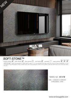 Stone Feature Wall, Feature Wall Design, Interior Design Living Room, Living Room Designs, Makeup Furniture, Tv Wall Panel, Stone Veneer Panels, Stone Wall Design, Modern Tv Wall Units