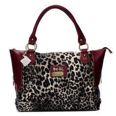 Coach Leopard Fur Large Red Totes BAI Give You The Best feeling!