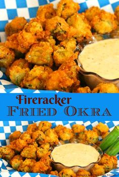 Thrill the okra fans at your table with this Firecracker Fried Okra with just the right amount of heat in the crunchy coating to enhance the flavor. Veggie Side Dishes, Vegetable Dishes, Side Dish Recipes, Vegetable Recipes, Food Dishes, Vegetarian Recipes, Cooking Recipes, Healthy Recipes, Cajun Recipes