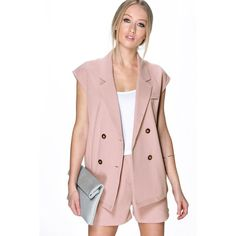 Boohoo Violet Double Breasted Waistcoat ($35) ❤ liked on Polyvore featuring outerwear, vests, mauve, pink puffy vest, pink vest, waistcoat vest, duster coat and double breasted waistcoat