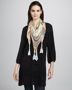 Kaila Long Embroidered Tunic & Mala Scarf, Classic by Johnny Was Collection at Neiman Marcus.