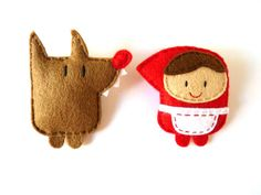 Wolf and Little Red Riding Hood Felt Brooches Set by ovejitabe on Etsy kids - Pin Coffee Felt Diy, Handmade Felt, Felt Crafts, Fabric Crafts, Sewing Crafts, Sewing Projects, Red Riding Hood Wolf, Felt Decorations, Felt Brooch