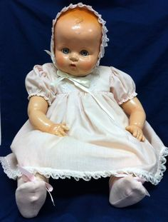"VINTAGE IDEAL 22"" BABY DOLL COMPOSITION & CLOTH CIRCA 1940'S"