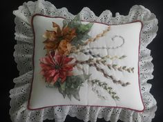 NOCHEBUENA TRADICIONAL PARA COJÍN (Traditional Poinsettia For pillow cus...