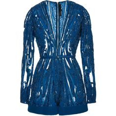 Elie Saab Embroidered Blue Double Silk Georgette Jumper ($9,275) ❤ liked on Polyvore featuring elie saab and jumpsuits