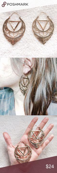 d3d1e1a13fb Tribal Chakra Brass Hoop Earrings An absolutely gorgeous hand designed,  handmade (in the UK