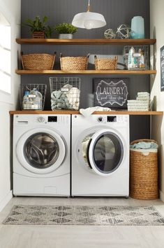 9 Steps to a Perfectly Organized Linen Closet Incorporate Decorati. - 9 Steps to a Perfectly Organized Linen Closet Incorporate Decorative Baskets - Modern Laundry Rooms, Laundry Room Layouts, Laundry Room Remodel, Laundry Room Design, Basement Laundry, Laundry Shelves, Laundry Decor, Laundry Room Small, Laundry Room Bathroom