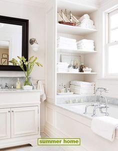 white, bathroom - great storage idea