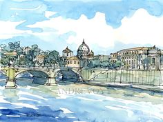 Rome Tiber Italy art print from an original watercolor
