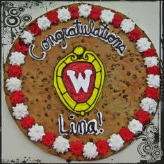 Graduation party ideas! Cookie Cake Cookie Cakes, Graduation, Birthday Cake, Party Ideas, Baby Shower, Desserts, Food, Babyshower, Tailgate Desserts